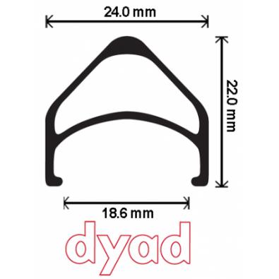 Velocity Dyad Rim, 700c 36h w/MSW Black