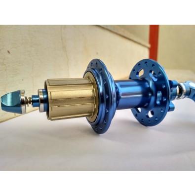 ABC MTB Disc Rear Hub, 6 Bolt, 135mm, Cartridge Bearing, 32h, Blue