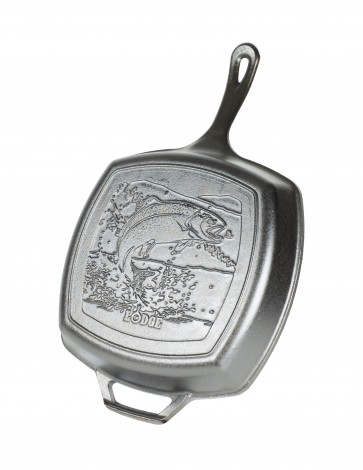 Lodge 10.5 Inch Square Grill Pan, Fish