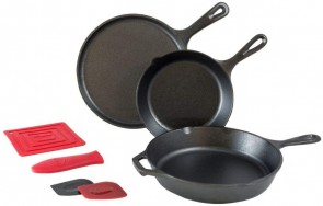 "Lodge Essential Skillet Set: 10.5"" Griddle, 10.25"" Skillet, 8"" Skillet, 6"" Red Silicone Pot Holder, Red Silicone Handle Mitt, Red Pan Scraper and Black Pan Scraper."
