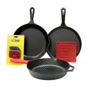 "Lodge Essential Pan Set: 10.5"" Griddle, 10.25"" Skillet, 10.25""Grill Pan, 6"" Red Silicone Pot Holder, Red Silicone Handle Mitt, Red Pan Scraper and Grill Pan Scraper"