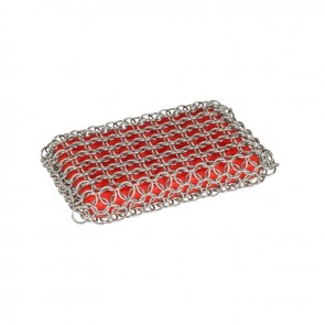Lodge Silicone & Chainmail Scrubbing Pad, Red