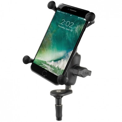 RAM Fork Stem Mount with Short Double Socket Arm & Universal RAM® X-Grip® Large Phone Cradle